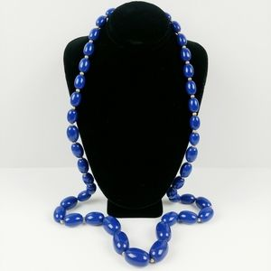 """Vintage navy graduated bead necklace 30"""""""
